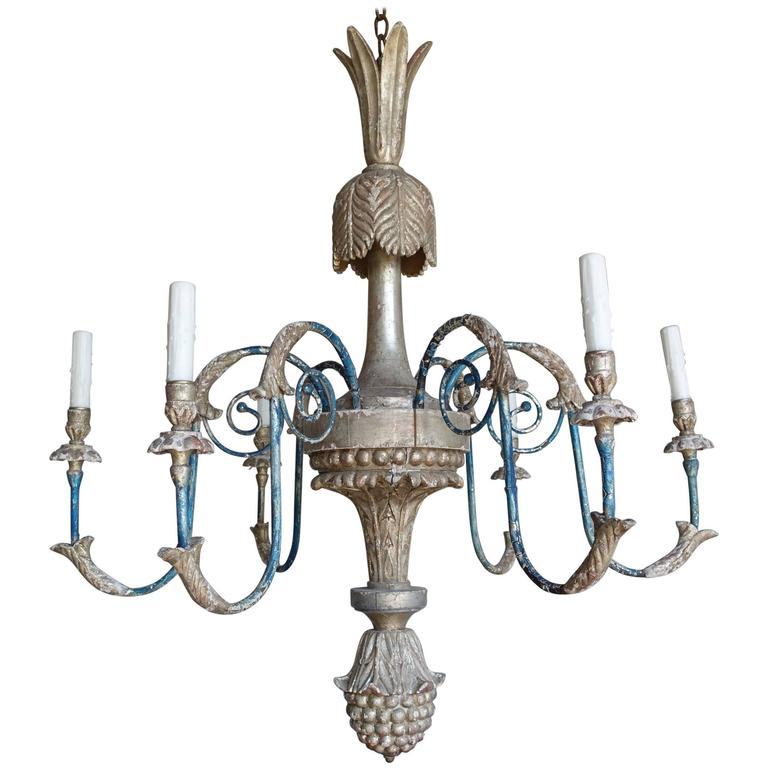 Italian Style Carved Silvered and Painted Chandelier