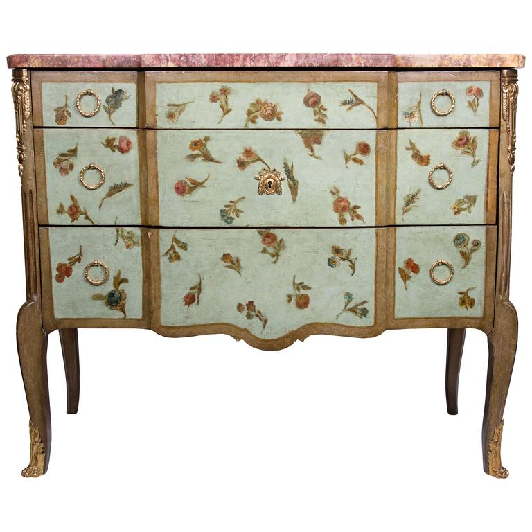 19th Century Louis XV/XVI Transitional Style Painted Commode