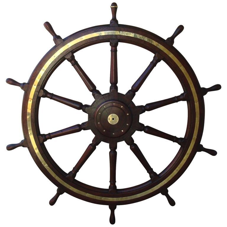19th Century Very Large Teak Ship's Wheel For Sale