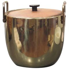 Brass and Wood Ice Bucket by Ben Seibel for Jenferd Ware