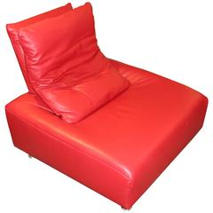 Fabulous Soft Red Leather Italian Lounge Chair That Floats and Wiggles
