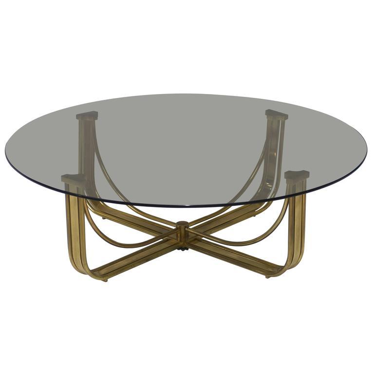 Mastercraft Brass Coffee Table with Round Smoked Grey Glass Top