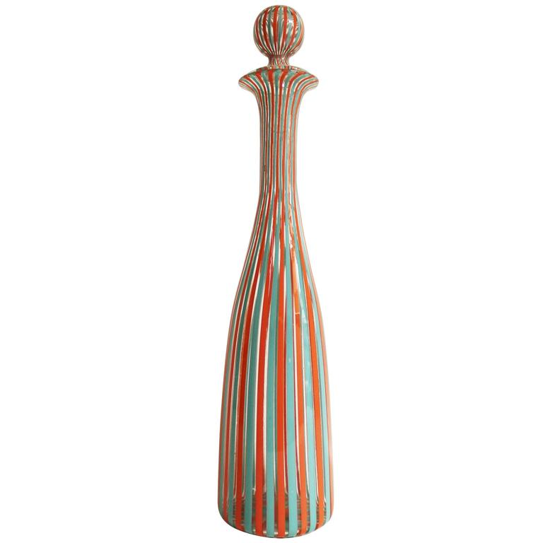 Fulvio Bianconi for Venini 'Bottiglie A Canne' Murano Bottle/Jar