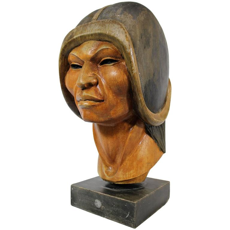 19th Century Native Yampara Carved Wood Bust/Sculpture