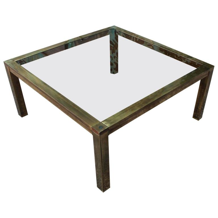 Bold Brass And Smoked Glass Square Modern Coffee Table For Sale