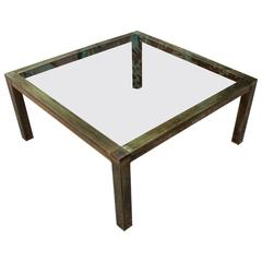 Bold Brass and Smoked Glass Square Modern Coffee Table
