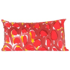 Hand-Painted Red Scales Lumbar Silk Charmeuse Pillow