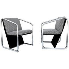 Rare Pair of Chrome Petite Lounge Chairs by Jerry Johnson