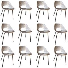 Set of 7 Molded Aluminum Chairs by Pierre Guariche, France, 1960s