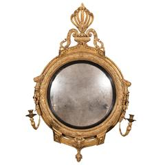 Irish Period Regency Gilt Carved Girandole Convex Mirror