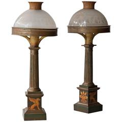 Pair of Early 19th Century Tole Sinumbra Table Lamps with Etched Glass Shades