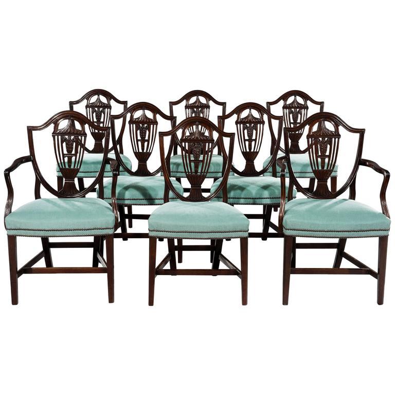 fine set of eight george iii hepplewhite shield back mahogany dining chairs  : hepplewhite shield dining chairs set
