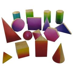 Group of 16 Wooden Geometric Models for Teching