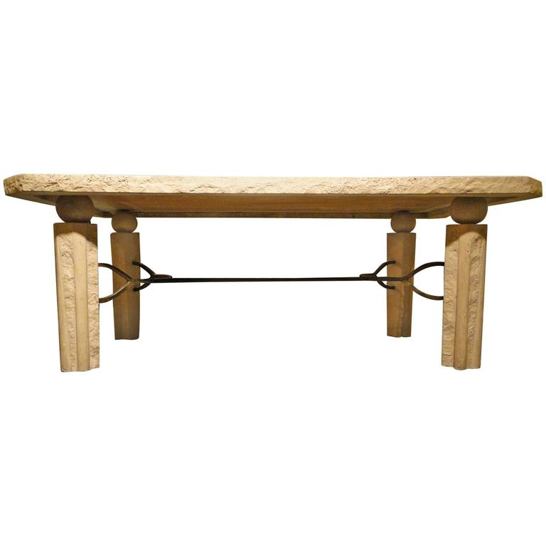 Scandinavian Travertine Marble And Brass Coffee Table For Sale At 1stdibs