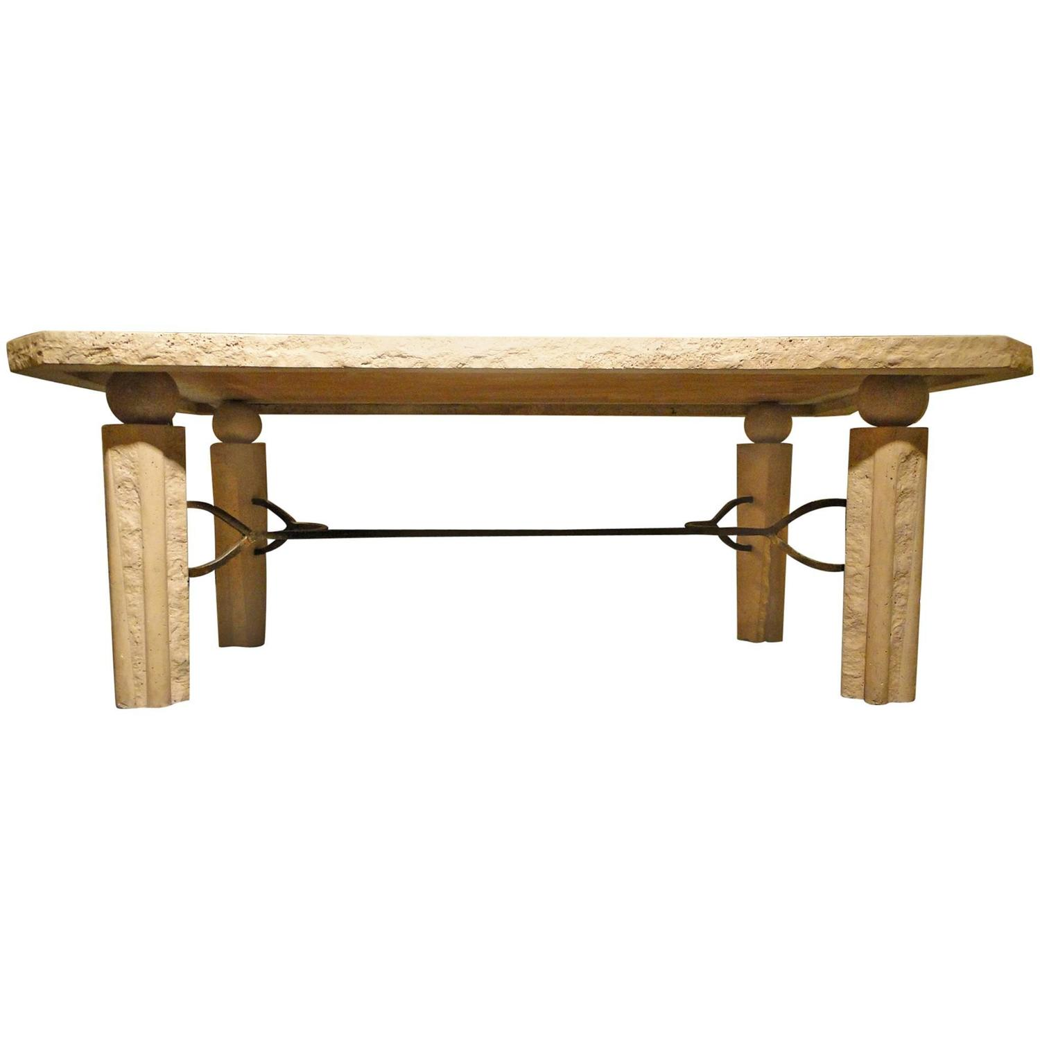 Scandinavian Travertine Marble And Brass Coffee Table For