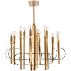 Brass, Chrome and Glass Twelve-Light Chandelier by Gaetano Sciolari