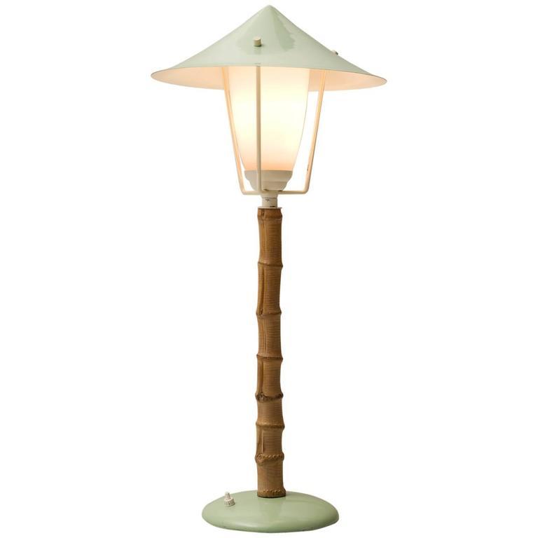 J.T. Kalmar 'Karla' Bamboo Green Table Lamp, 1950s