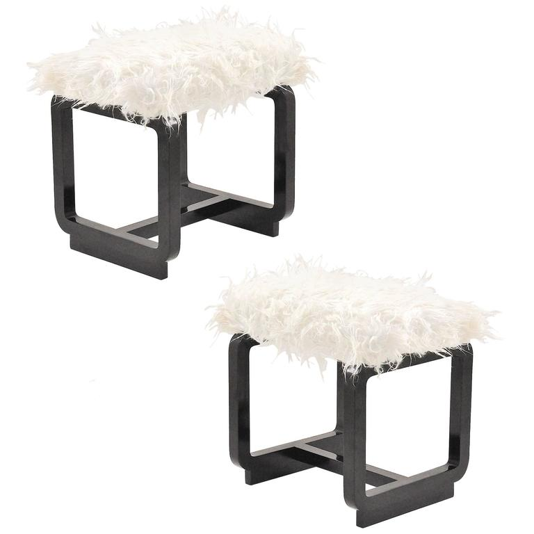 Pair of Modernist Stools with Lamb Fur