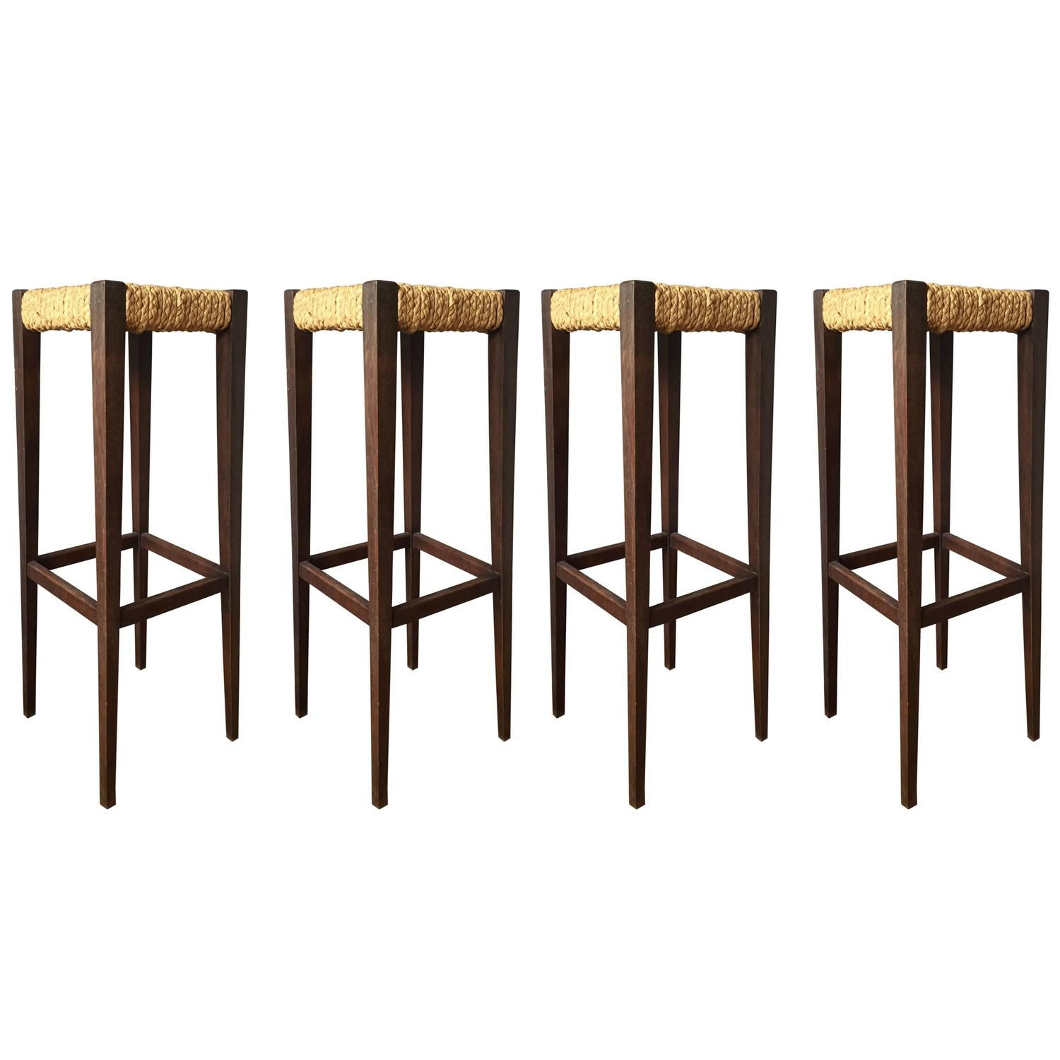Rare Set Of Four 1950s Woven Abaca Seat Bar Stools By