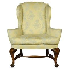 Early 20th Century Queen Anne Style Wing Armchair