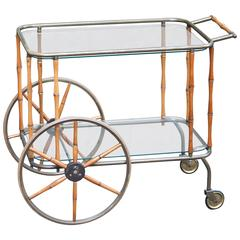 Maison Jansen Bar Cart Bamboo Brass, 1960