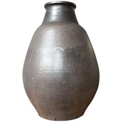 Very Large French 1960s Black and Dark Brown Gourd Vase