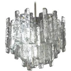 Charming Austrian Crystal Iceglass Chandelier Kalmar, Vienna, 1970