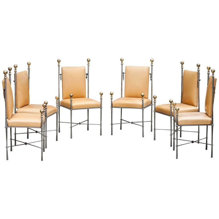 Set of Six Maison Jansen Style Dining Chairs For Sale