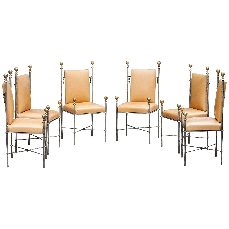 Set of Six Maison Jansen Style Dining Chairs