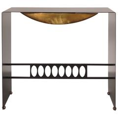 Unique Metal with Brass Console Table, Italy, circa 1970