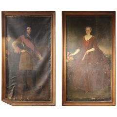 Pair of 17th Century French School Oil on Canvas Portraits, Fonthill, circa 1639