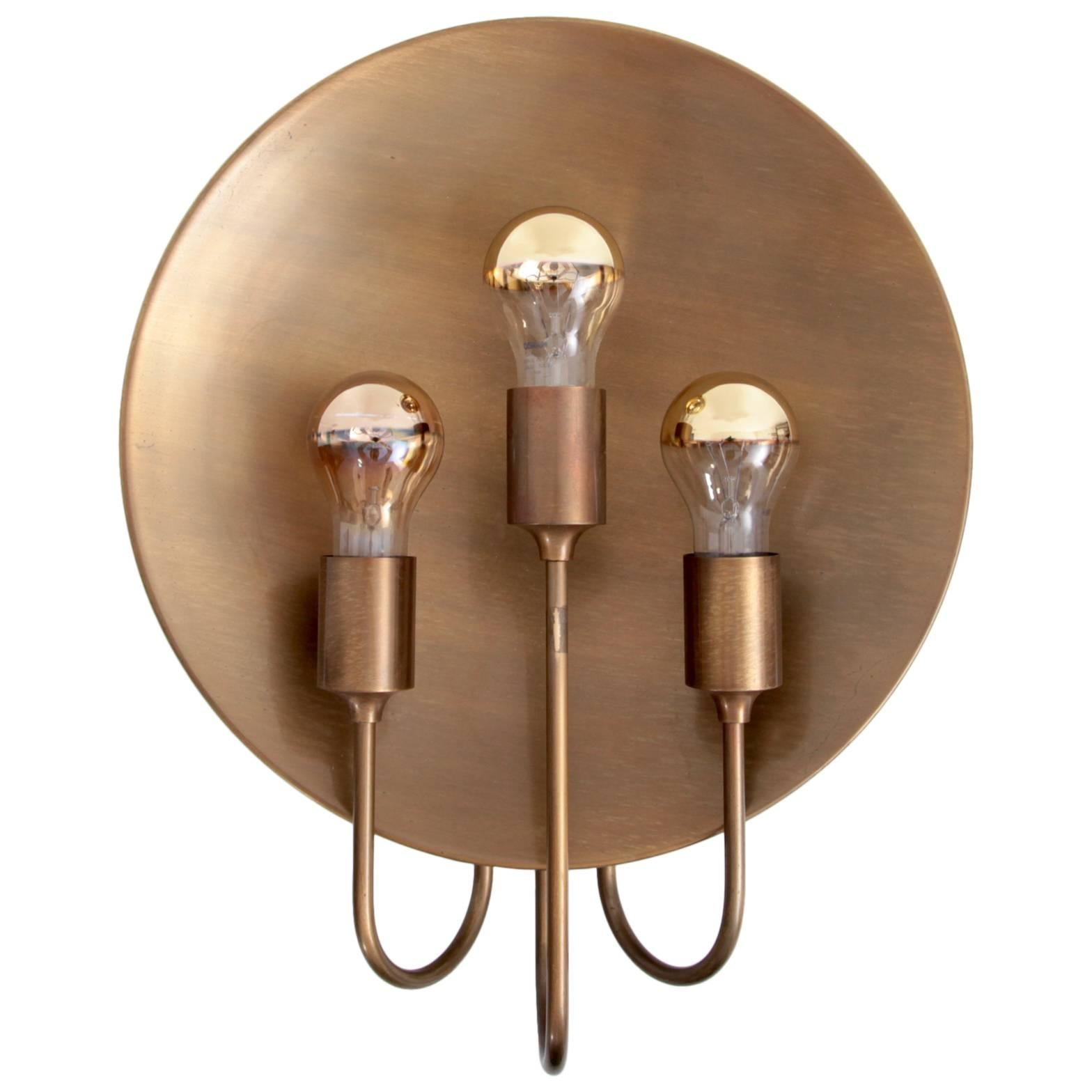 Rare Huge Florian Schulz W185 Brass Wall Lamp, 1960s, Germany