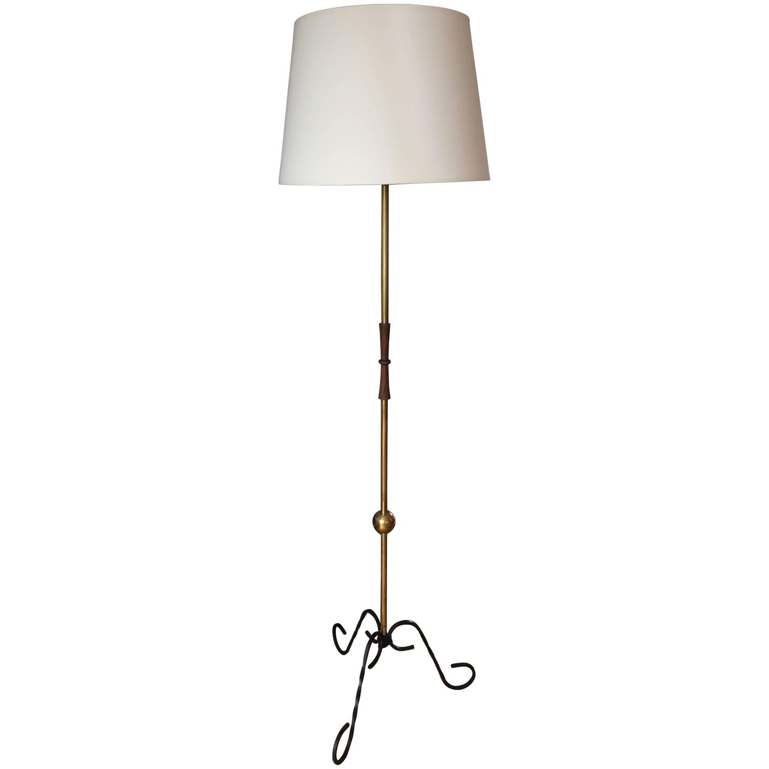 French 1950s brass floor lamp at 1stdibs for 1950 s brass floor lamp