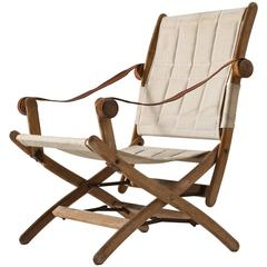 Scandinavian Safari Folding Chair in Beech and Canvas Upholstery
