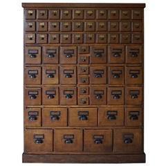 Vintage French Oak Apothecary Bank of Drawers, 1930s