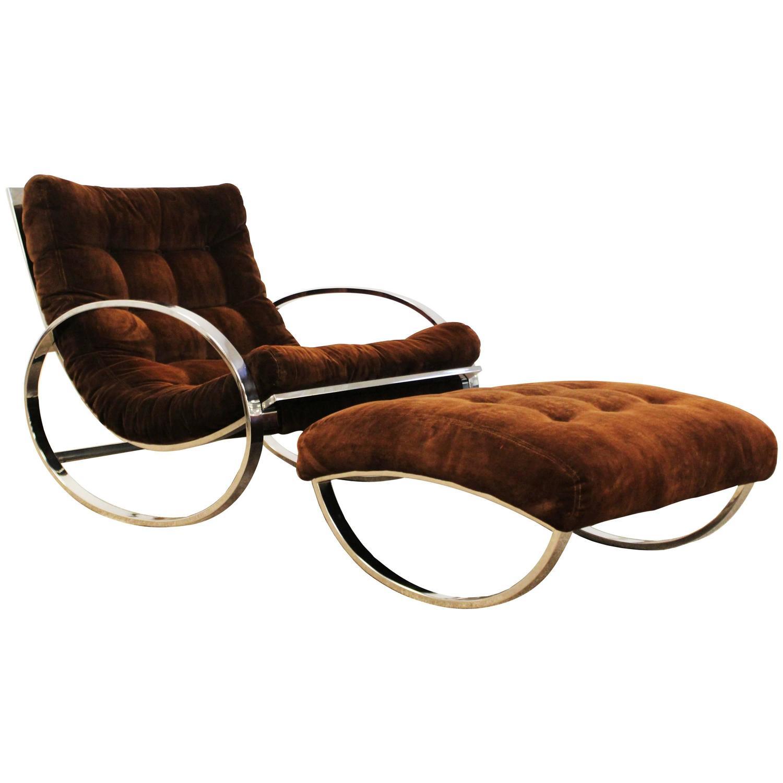 Selig chair and ottoman - Renato Zevi For Selig Chrome Rocker Italian Lounge Chair And Ottoman At 1stdibs