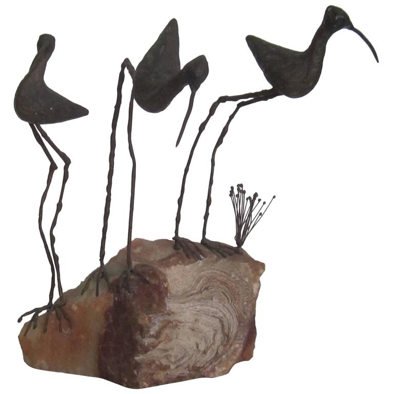 Signed Onxy and Bronze Birds Sculpture by Designers C. Jere, ca.1960s