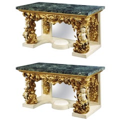 Pair of Carved Giltwood and Green Marble Console Tables in the Italian Manner