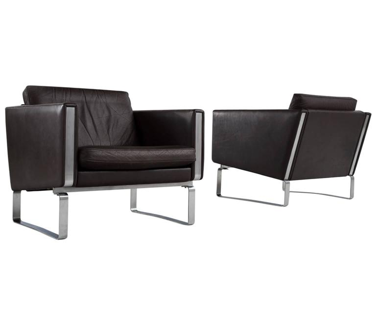 Hans Wegner Set Of Two JH-801 Dark Brown Leather Easy Chairs