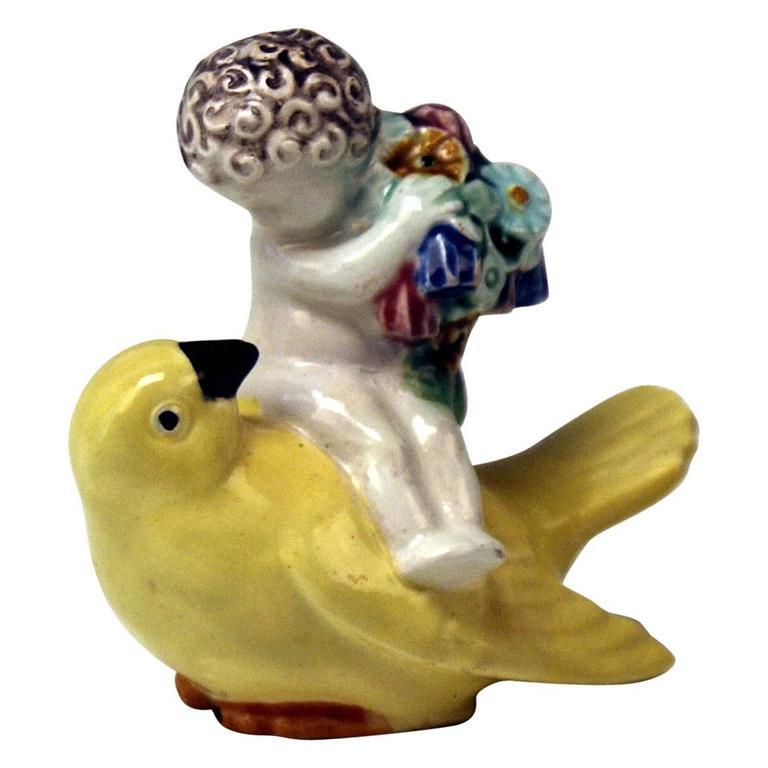 Michael Powolny Vienna Cherub Sparrow Bird Wiener Keramik Vienna Ceramics c.1910