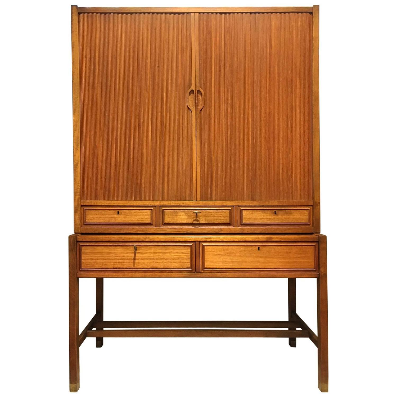 Teak Kitchen Cabinet Doors: Mid-20th Century Swedish Teak Cabinet With Tambour Doors