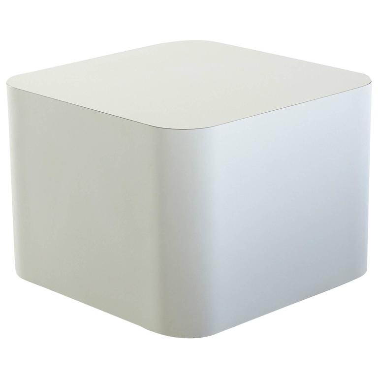 Custom Made White Laminate Cubic End Table or Pedestal, Large