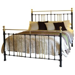 Wide Brass and Iron Bed in Black, MSK29
