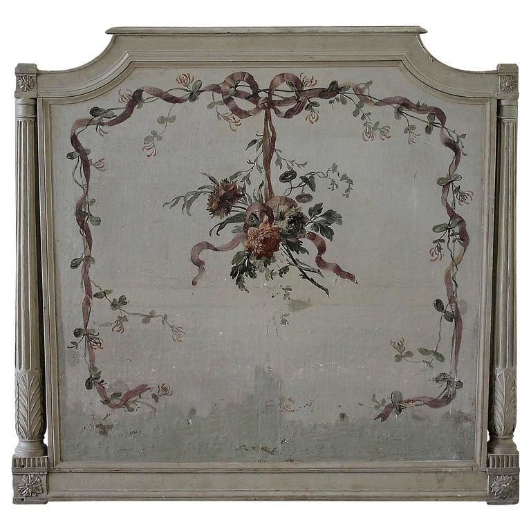 19th Century French Louis Xvi Hand Painted Plaque Or