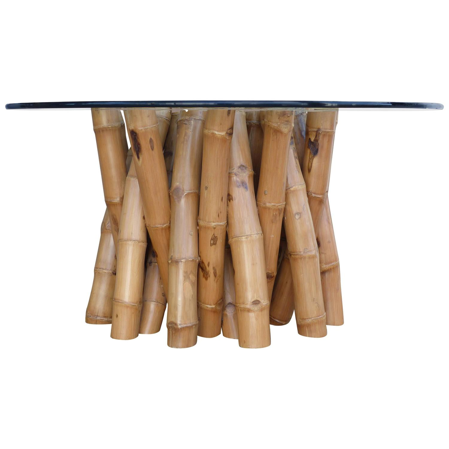 Bamboo Dining Table with Glass Top at 1stdibs