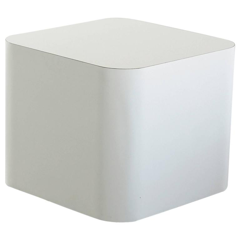 Custom-Made White Laminate Cubic End Table or Pedestal, Small 1