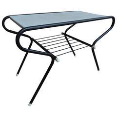1950 Vintage Mathieu Mategot Black and White Metal Coffee Table