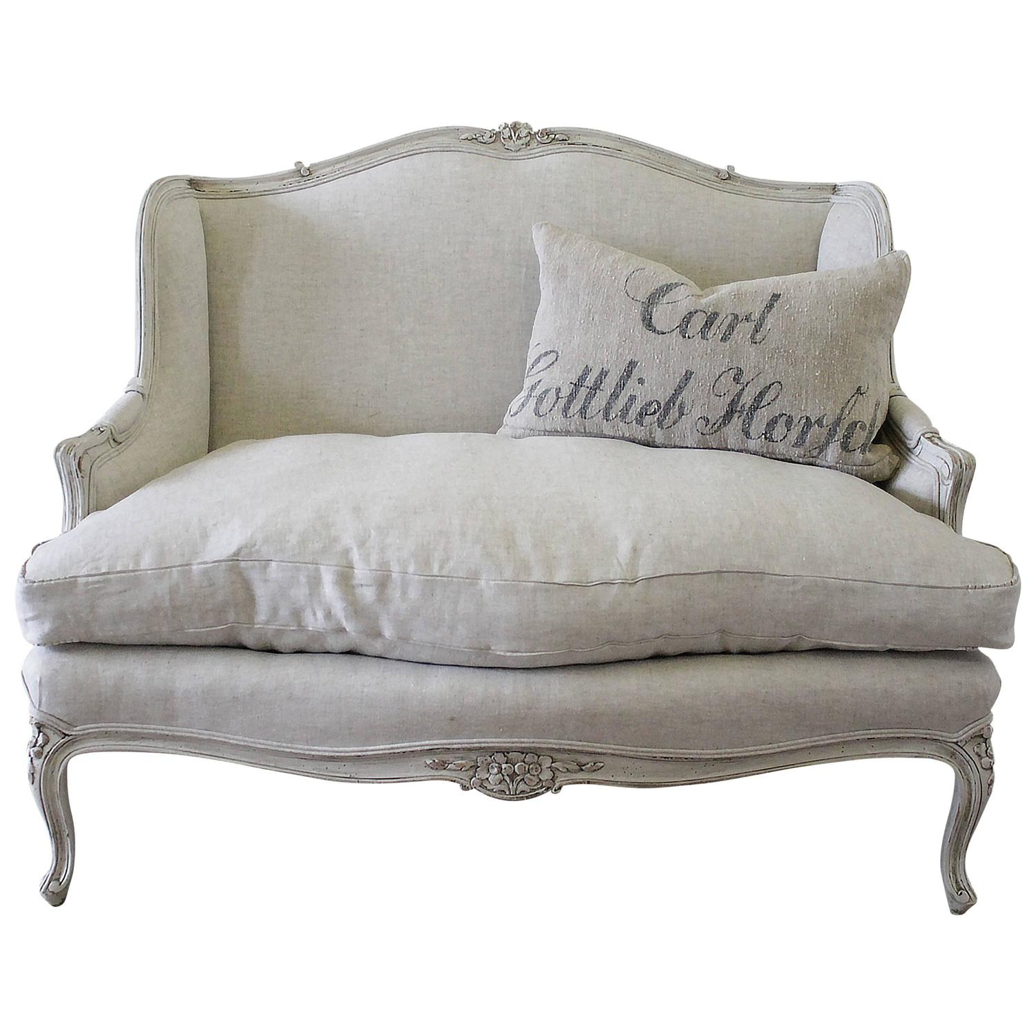 Antique french country louis xv style painted and linen for Settees for sale