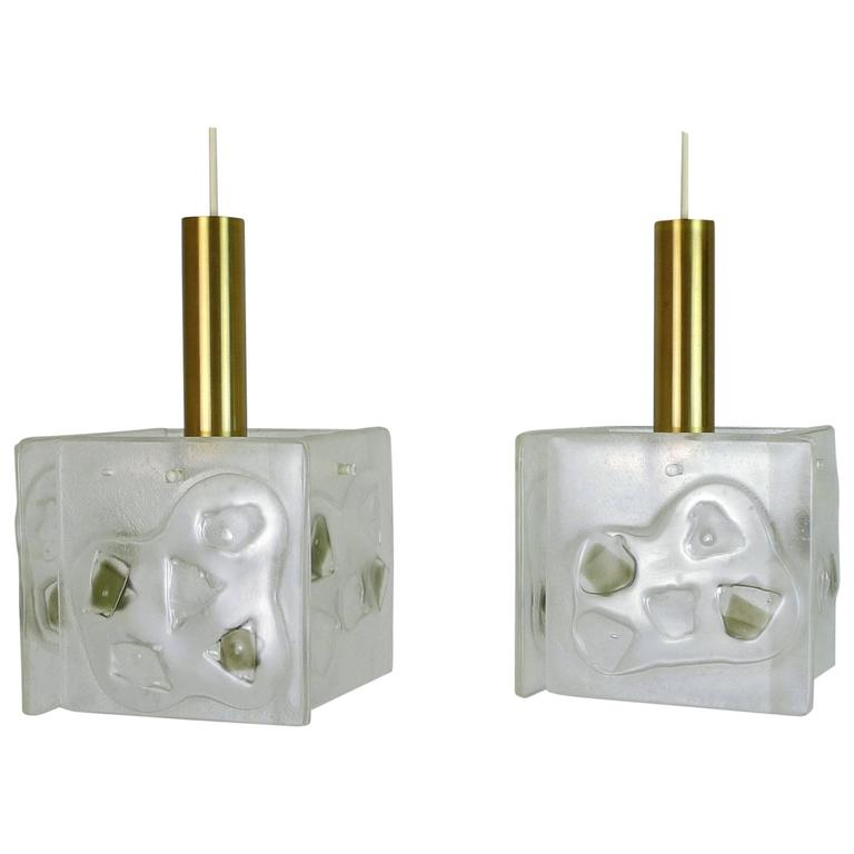 Pair of 1960s Pendant Lamps with Structured Glass and Brass Cylinder, Germany