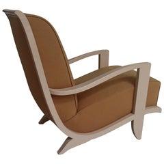 1940s Streamline Lounge Chair Ivory Wood Mustard Wool Tissue